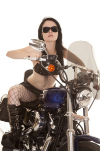 Hot chick on a motorcycle